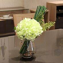 XPHOPOQ Einfacher Stil künstliche Blumen Hortensie Glas Vase Orchidee Esstisch Dekoration Grün