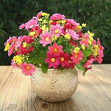 XPHOPOQ Einfacher Stil Wohnzimmer Dekoration Topfpflanzen Seide Blumen künstliche Blumen rote Chrysantheme