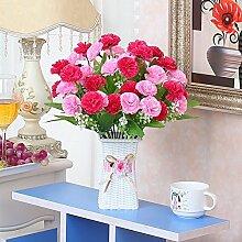XPHOPOQ Fake Blume Kunststoff Blumen künstliche Blumen Hand-Woven Blumenkörbe Garten Dekoration Nelke