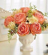 XPHOPOQ Fake Blume Rose Wohnzimmer Dekoration europäischen Stil weiße Keramik Vasen Rosa