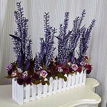 XPHOPOQ Holz- Zaun Blume Lavendel Rose Blume Garten Dekoration künstliche Blumen Viole