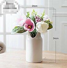 XPHOPOQ Kreativität europäischen Stil Dekoration Keramik Vasen Wohnzimmer modernen minimalistischen Stil künstliche Blumen Rosa Orchideen