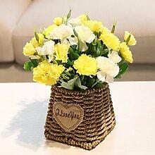 XPHOPOQ Ländlichen Stil künstliche Blumen Hand-Woven Blumenkörbe Haus Garten Dekoration Gelb Nelken