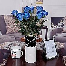 XPHOPOQ Minimalistischer Stil Rose künstliche Blumen Outdoor Hochzeit Party Dekoration Blau