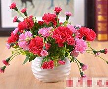 XPHOPOQ Moderne minimalistische Künstliche Blumen Nelken Topfpflanzen Vasen Esstisch Dekoration Ro