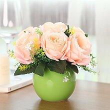 XPHOPOQ Moderner Stil Rose künstliche Blumen Haus Wohnzimmer Dekoration Orange