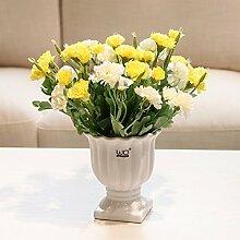 XPHOPOQ Muttertag Weihnachten Geschenk künstliche Blumen Fake Blumen Topfpflanzen Home Dekoration Gelb Nelken weißer Keramik Vase
