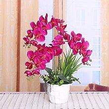 XPHOPOQ Orchidee künstliche Blumen Topfpflanzen Außenpool Garten Hochzeit Dekoration Weihnachten Geschenk Rot Weiß Keramik Vase
