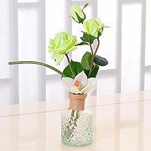 XPHOPOQ Pastoralen Stil Esstisch Dekoration Rose künstliche Blumen Glas Vase Grün