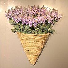 XPHOPOQ Pastoralen Stil künstliche Blumen an der Wand hängenden Blumen Dekoration Geschenk Lila Lavendel