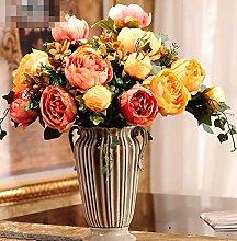 XPHOPOQ Retro europäischen Stil künstliche Blumen Keramik Vasen Wohnzimmer Dekoration Fake Blumen Orange Pfingstrose