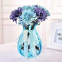 XPHOPOQ Retro Style Afrika Chrysantheme Glasvasen Wohnzimmer Dekoration Geschenke Blau