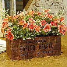 XPHOPOQ Retro Style Chrysantheme Zaun Blumen Topfpflanzen Garten Party Dekoration Orange