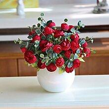 XPHOPOQ Rose künstliche Blumen einfachen Stil Zimmer Büro Dekoration Topfpflanzen Ro