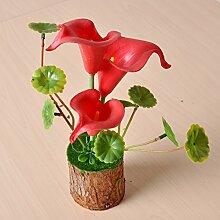 XPHOPOQ Topfpflanzen europäischen Stil künstliche Blumen simulation Blumen Desktop Mode Haus kreative Dekoration Rot calla Lilie