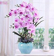 XPHOPOQ Topfpflanzen Keramik Vase Orchidee künstliche Blumen Innen Dekoration Viole