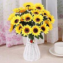 XPHOPOQ Wohnzimmer Außenpool Garten Dekoration künstliche Blumen pastoralen Stil Geschenk Sonnenblume Gelb