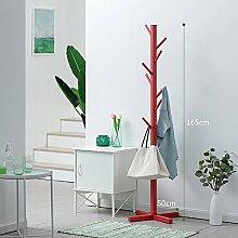 XRXY Einfache Massivholz Floorstanding Garderobe / Wohnzimmer Lagerregal / Schlafzimmer Kleiderbügel (4 Farben optional) ( Farbe : Rot , größe : 165*50cm )