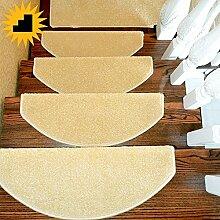 XRXY Einfarbige einfache Treppenmatte / Verschlüsselung Halbkreis-Treppe Fußauflage / leimfreier selbstklebender Teppich (eine Packung 1) ( Farbe : Beige , größe : 75*24cm )