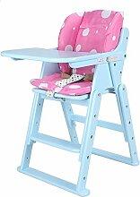 XRXY Kinder-fester hölzerner Schemel / Baby-Multifunktionsspeisestühle / zusammenklappbarer Baby-Stuhl 63 ~ 81 Cm ( Farbe : Blau )