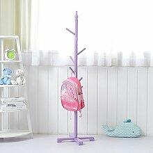 XRXY Kinder Massivholz Farbige Kleiderständer / Kreative Floorstanding Kleiderbügel / Schlafzimmer Kleidung Lagerregal ( Farbe : Lila )