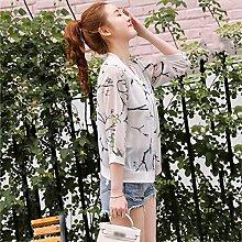 XRXY Kreatives Nettogarn, das Sonnenschutz-Kleidung / dünne breathable Haut-freundliche Sonnencreme-Strickjacke / kurze Hülse im Freien anti-UV kurze Jacke / einfaches Klimaanlagen-Hemd druckt ( Farbe : B , größe : Xl )