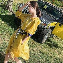 XRXY Weiblicher großer langer Abschnitt lose Sonnenschutz-Kleidung / Kursteilnehmer beiläufiger Breathable dünner Mantel-Wolljacke / Haut-freundlicher Anti-UV Sunscreen-Außenschal ( Farbe : Gelb , größe : Xl )