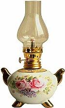 XRYDLL Öllampen Antike Petroleumlampe Keramik