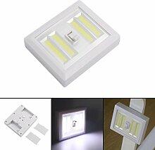 Xshuai Mehrfachinstallation Wireless COB LED Multifunktions-Wandbeleuchtung Schalter Batteriebetriebene Schrank Nachtlicht Nacht (Weiß)