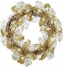 Xshuai Spezielle design 35 cm Frohe Weihnachten Party Ahornblatt Tür Wand Dekoration Fenster Ornament Kranz Kranz (Gold)
