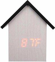XTSZM Hölzerne LED Wecker Uhr Voice Holzsteuerung