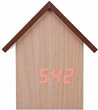 XTSZM Hölzerne LED Wecker Uhr Voice Wood Control