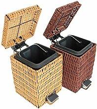 Xuan - worth having Bambus Rattan Square Mülleimer Home Covered Mini Kreativ Pedal WC Trash Can Natürlichen True Rattan Abfalleimer ( Farbe : Braun , größe : 12L )
