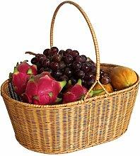 Xuan - worth having Gelb Rattan Picknickkorb Home Obst Essen Sammlung Korb Set Der Korb Kreativ Korb Umwelt Handgewebte Körbe Natürliche Pflanze Rebe