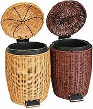 Xuan - worth having Rattan Mülleimer Wohnzimmer Wohnzimmer Mülleimer Covered Pedal Mülleimer Natürliche indonesische Rattan Pure Hand Weaving Abfalleimer ( Farbe : Braun , größe : 5L )