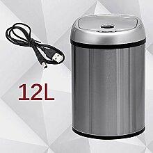 XUEQIN Induktion Mülleimer Wiederaufladbare Küche Wohnzimmer Mit Toilette Europäische Stil Kreative Automatische Smart Trash Can Home ( Farbe : 12L-2 , größe : Battey-Charging )