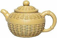 XueQing Teekanne aus Bambus (Farbe: Gelb)
