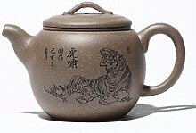 XueQing Teekanne mit Tiger-Motiv, handgefertig