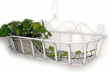 XUEWENZHE Blumenständer Continental Iron Wandbehang Flower Pot Regal, Balkon Blumenregal, Dekorative Pflanze Regal Verschiedene Gartenregal ( Farbe : Weiß , größe : L )