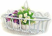 XUEWENZHE Blumenständer Continental Iron Wandbehang Flower Pot Regal, Balkon Blumenregal, Dekorative Pflanze Regal Verschiedene Gartenregal ( Farbe : Weiß , größe : S )