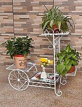 XUEWENZHE Blumenständer Einfache Eisen Kreativ Trapez Multilayer Boden Typ Blume Rack Balkon Boden Pflanzer Regal Europäische Moderne Wohnzimmer Indoor Flower Rack Verschiedene Gartenregal ( farbe : 2 , größe : B(L:76*W:28*H:70CM) )