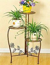 XUEWENZHE Blumenständer Eisen Blume Topf Regal Pflanze Stand Drei - Story Wohnzimmer Balkon Kreative Blume Rack Verschiedene Gartenregal ( farbe : Messing )