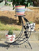 XUEWENZHE Blumenständer Europäische Art-Eisen-Blumen-Zahnstange Kreative mehrschichtige Blumen-Zahnstange Fußboden-Art Blumen-Zahnstange Balkon-Fußboden-Pflanzer-Regal-einfaches modernes Wohnzimmer-Innenblumen-Zahnstange Verschiedene Gartenregal ( farbe : B )