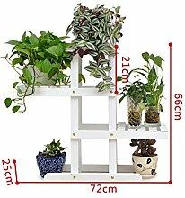 XUEWENZHE Blumenständer Europäische - Stil Kreative Zwei - Story Hölzerne Blumentopf Rack Wohnzimmer Balkon Hölzerne Blumentopf Regal Verschiedene Gartenregal ( farbe : Weiß )