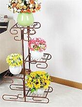 XUEWENZHE Blumenständer European-style Eisen mehrstöckigen Blumentopf Regal Balkon multifunktionalen Blumentopf Rack Verschiedene Gartenregal ( farbe : Messing )