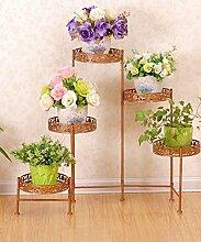 XUEWENZHE Blumenständer European-style Iron Flower Frame Faltende Blumentopf Rack Indoor / Wohnzimmer Mehrgeschossige Blumen Regal Blumenständer ( Farbe : B , größe : 116*21*68cm )