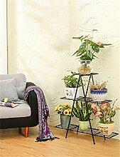 XUEWENZHE Blumenständer European - Style Six - Story Eisen Blumentopf Regal Pflanze Stand Wohnzimmer Balkon Töpfe Regal Blumenregal Verschiedene Gartenregal ( farbe : Schwarz , größe : A )