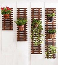 XUEWENZHE Blumenständer Hängende Wand auf dem Blumenstand Anti - Korrosion Wohnzimmer Balkon Massivholz Wand Hängende Pflanze Regal Hängende Wand Blumentopf Rack Verschiedene Gartenregal ( größe : 60+90+120+150cm )