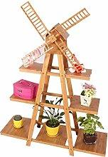 XUEWENZHE Blumenständer Massivholz Blumenregal Schlafzimmer mit Balkon Regal Kreative Drei-Layer-Blumenregal mit Windmühlen Verschiedene Gartenregal ( größe : L*W*H: 100*30*136cm )