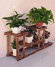 XUEWENZHE Blumenständer Mehrschichtiger Massivholz-Blumen-Zahnstange-Fußboden, fester hölzerner Bonsais-Rahmen-Balkon Wohnzimmer-moderner minimalistischer Blumen-Regal Verschiedene Gartenregal